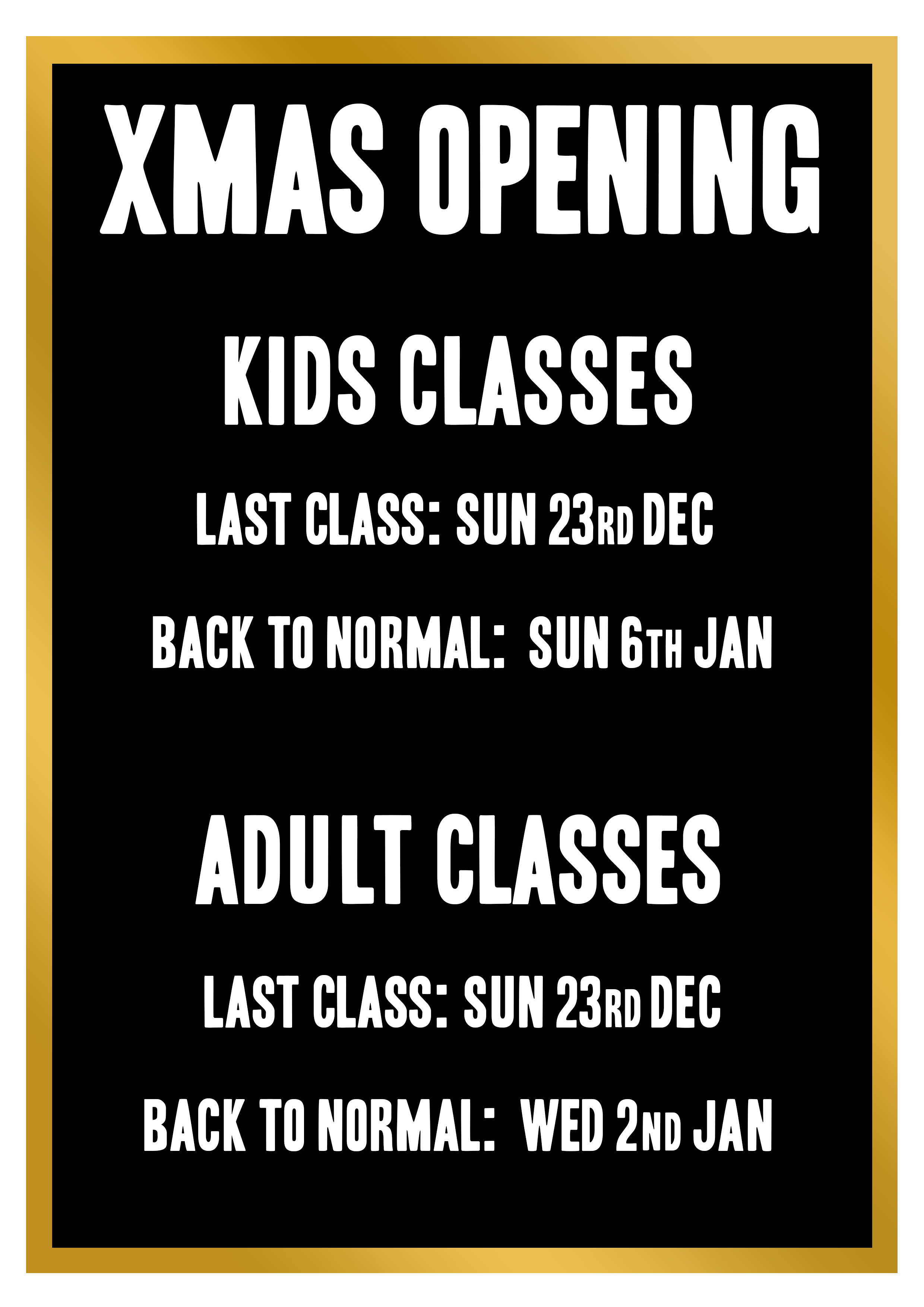 Xmas opening times  - BloodlineGym